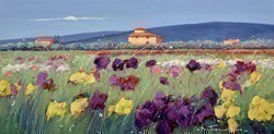 Giallo e Viola V by Bruno Tinucci -  sized 32x16 inches. Available from Whitewall Galleries